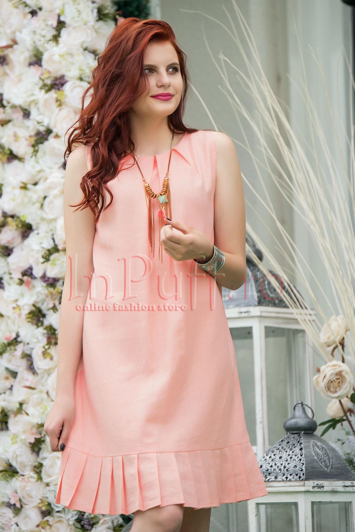 Rochie roz lejera din in cu pliuri
