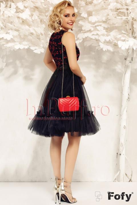 Rochie Fofy de ocazie baby-doll din tul negru si flori rosii 3D