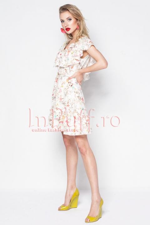 Rochie eleganta ivoire cu imprimeu floral si volane