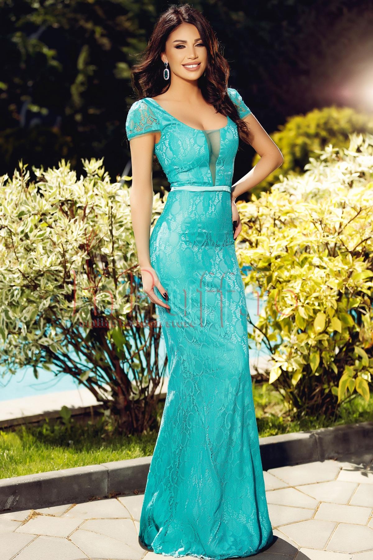 Rochie Atmosphere lunga de seara din dantela turquoise