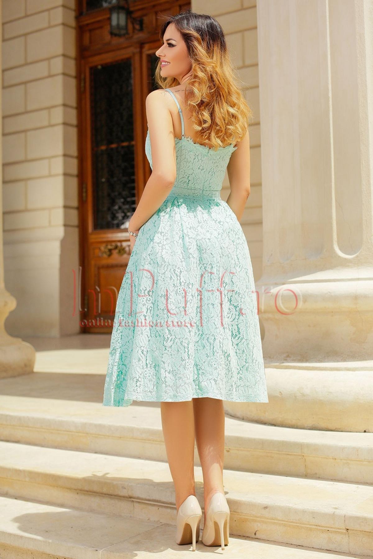 Rochie eleganta din dantela verde mentă