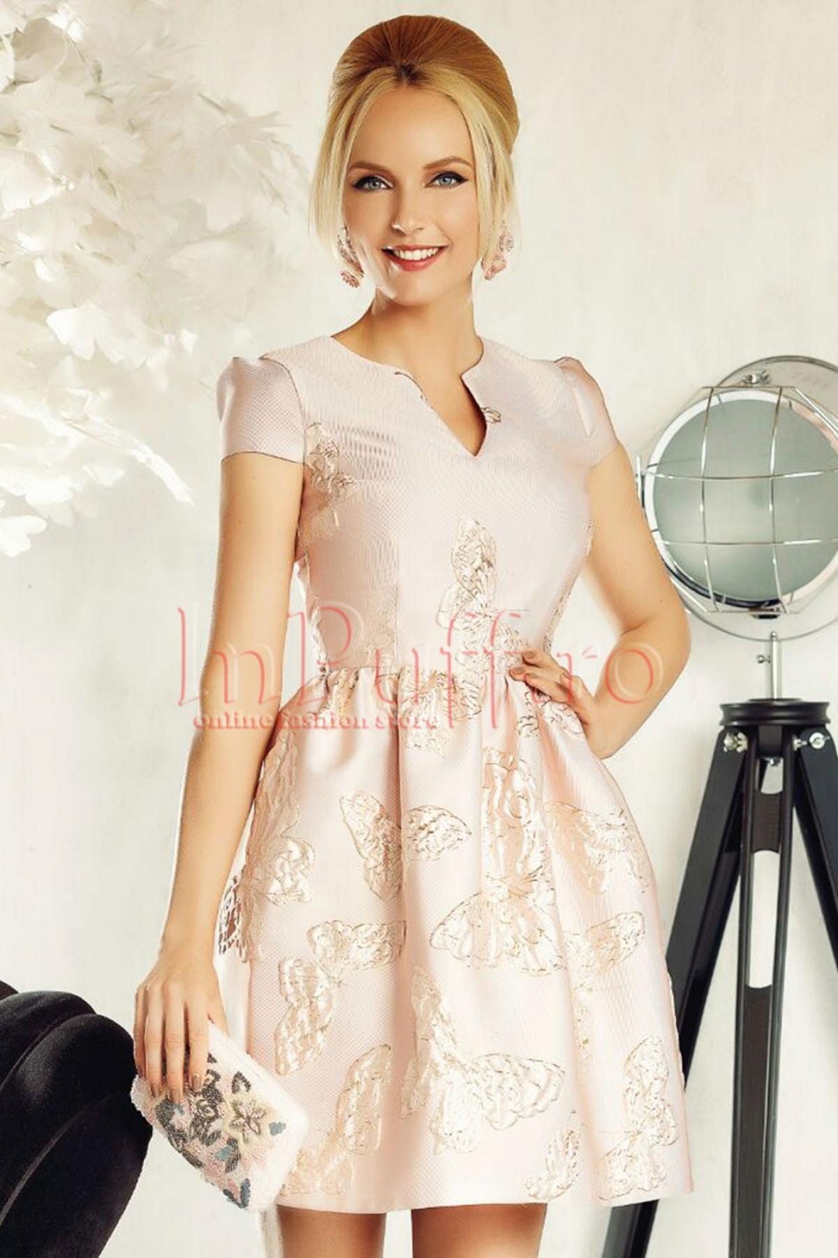 Rochie Fofy roz pudra de ocazie din brocad cu fluturi auriiroz