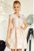 Rochie Fofy roz pudra de ocazie din brocad cu fluturi aurii roz