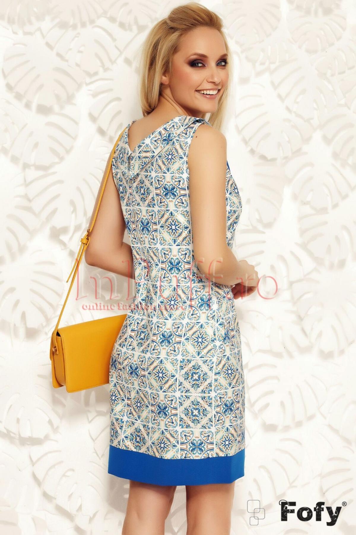Rochie Fofy eleganta cu imprimeu si funda albastra