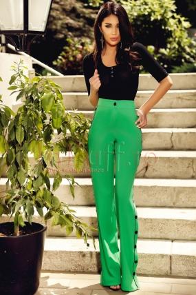 Pantaloni Atmosphere lungi verzi cu capse negre pe laterale