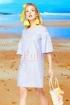 Rochie Pretty Girl lejera de zi bleu cu dungi albe