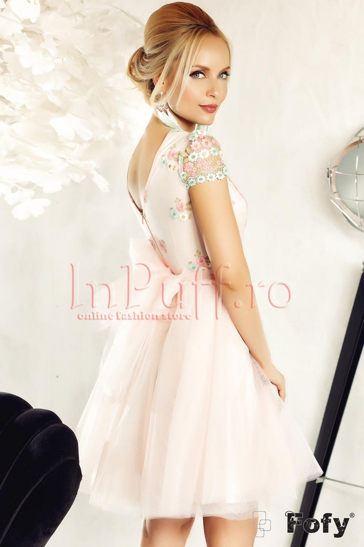 Rochie Fofy baby-doll roz cu tul si flori brodate