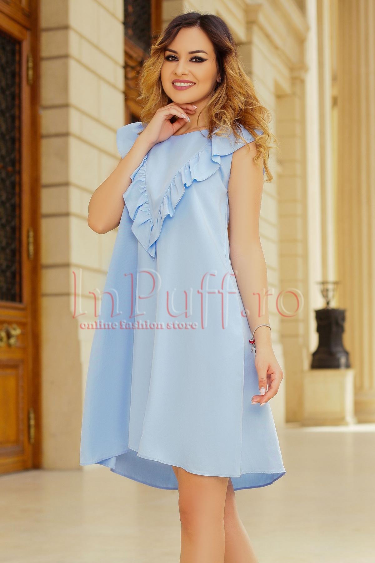 Rochie lejera de zi bleu cu volane