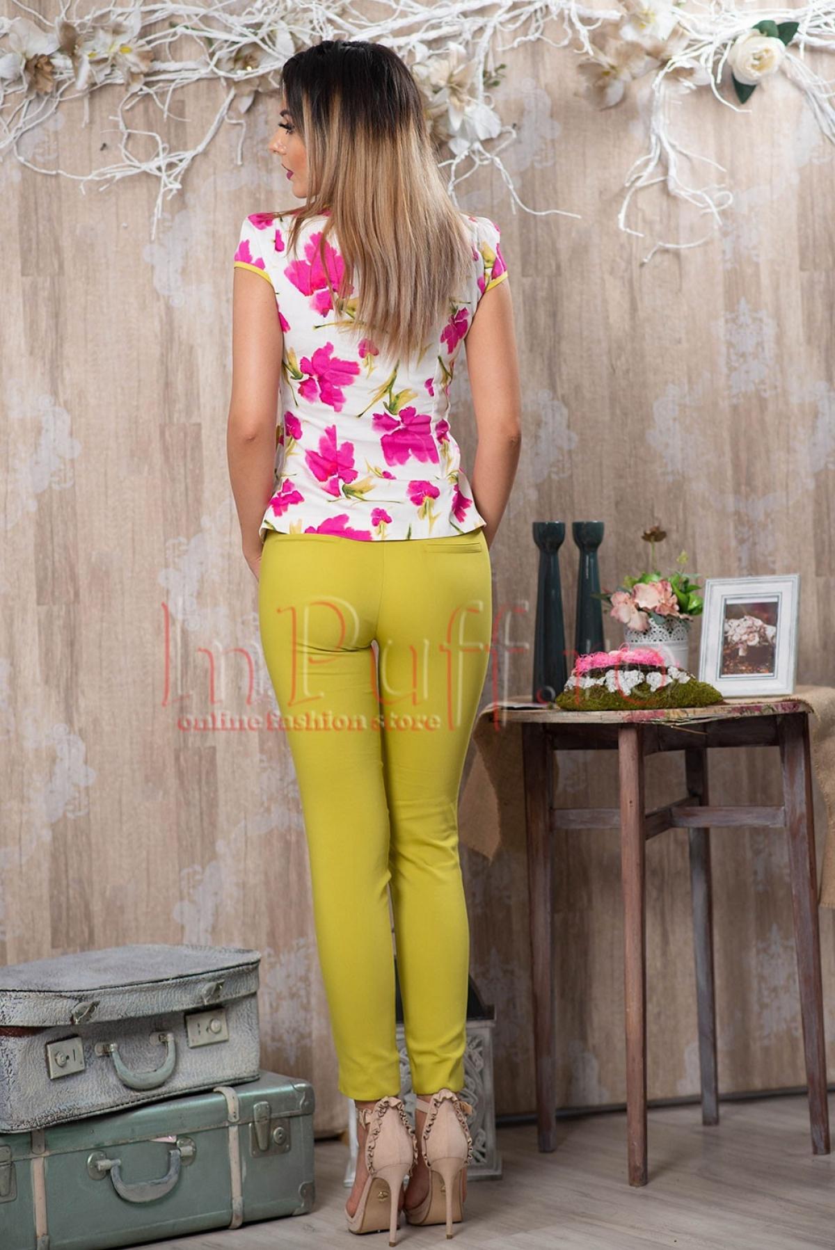 Pantaloni conici verde lime dama