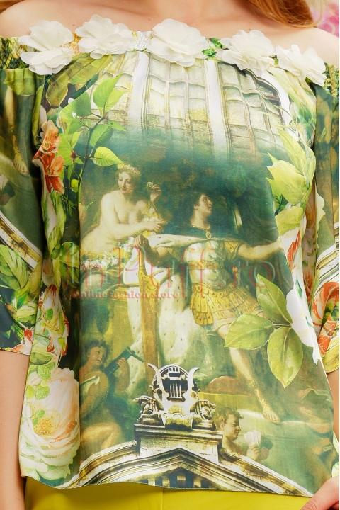Bluza pe umeri cu imprimeu si flori 3D ivoire