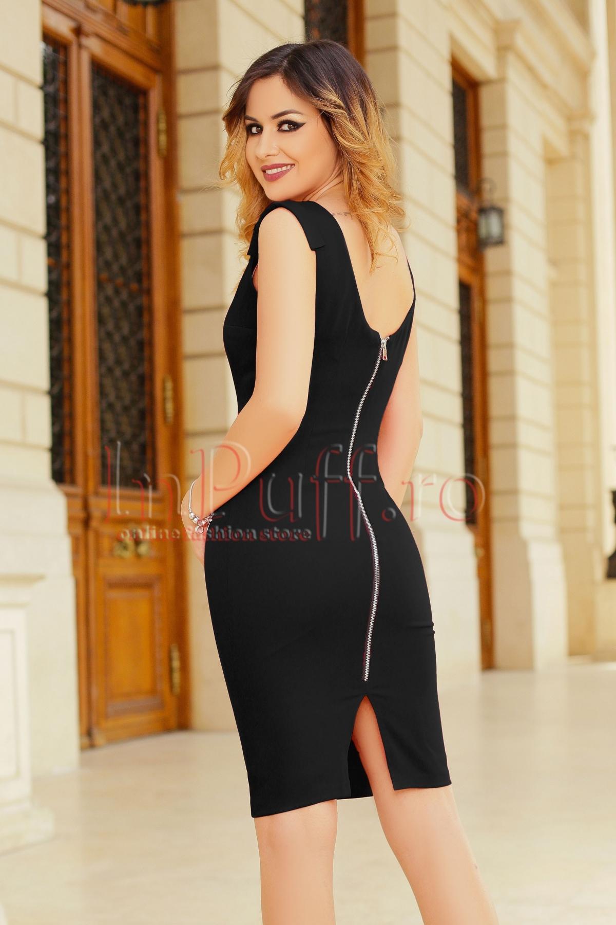 Rochie de ocazie midi neagra cu fermoar la spate