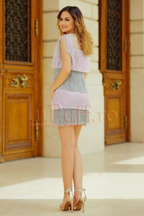 Rochie MBG de ocazie cu franjuri gri si roz