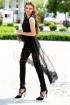 Compleu elegant negru pantalon si bluza cu trena