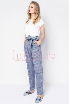 Pantaloni Pretty Girl cu dungi bleumarin si talie inalta