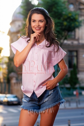 Camasa Pretty Girl casual cu dungi roz