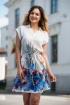 Rochie eleganta alba cu imprimeu colorat