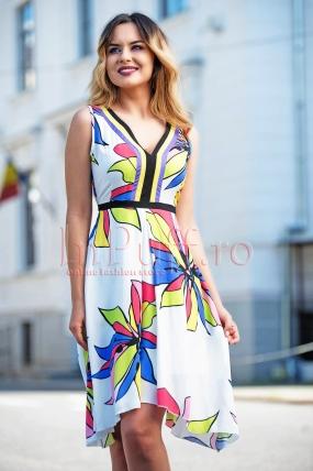 Rochie de zi eleganta cu imprimeu floral colorat