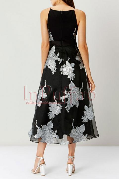 Rochie midi de seara din voal cu detalii florale