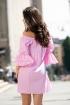 Rochie Pretty Girl scurta din bumbac cu patratele roz