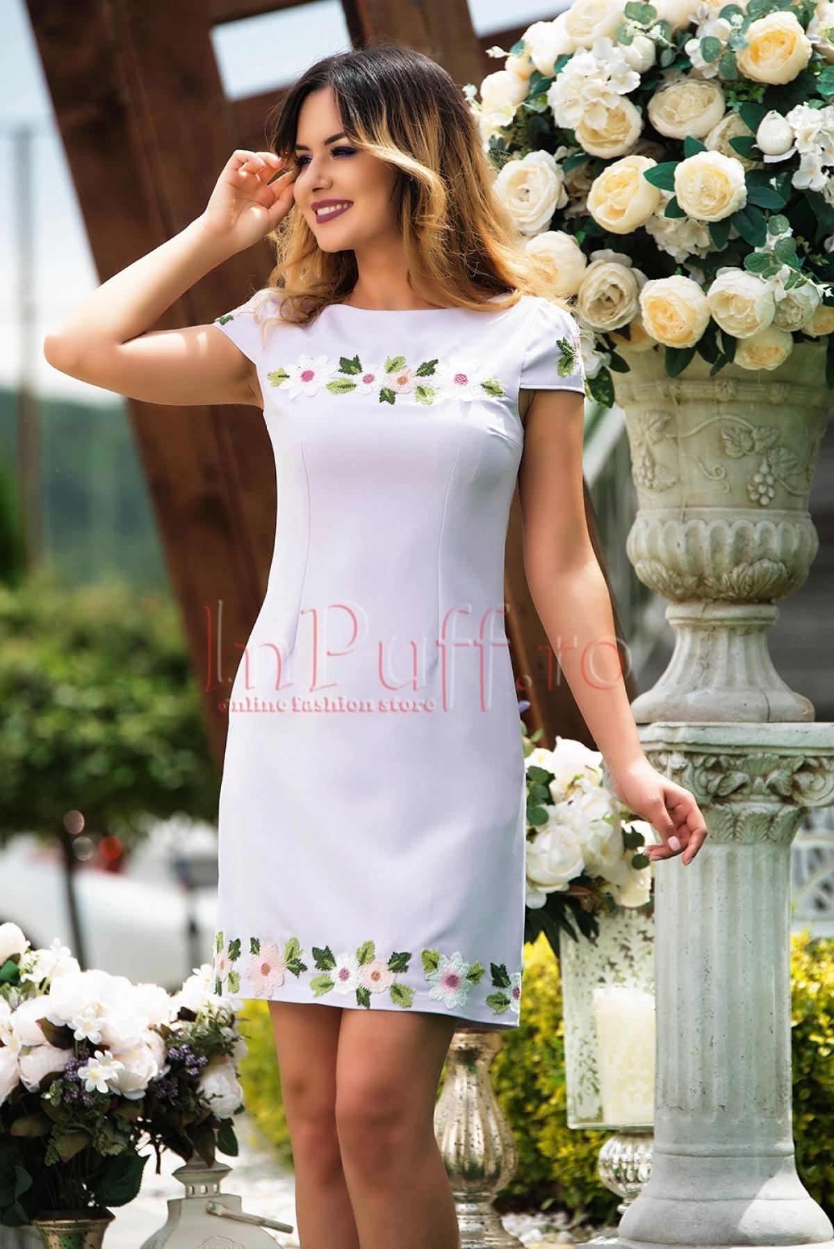 Rochie MBG eleganta lila cu broderie florala