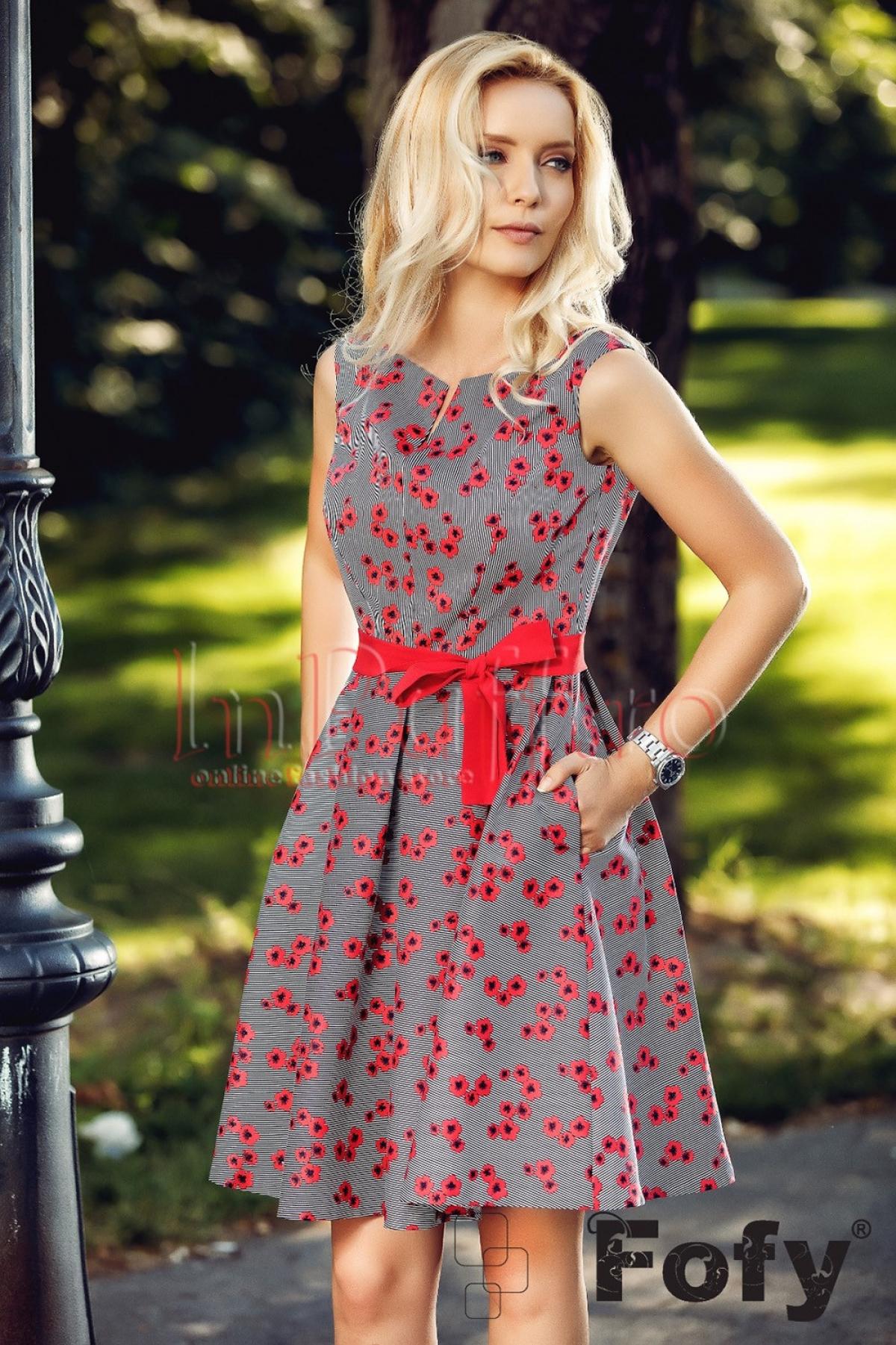 Rochie Fofy eleganta cu flori rosu cu negru imprimate