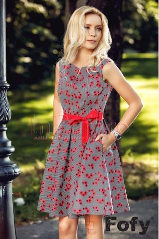 Rochie Fofy eleganta cu flori rosii