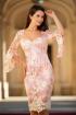 Rochie midi MBG din broderie roz si ivoire