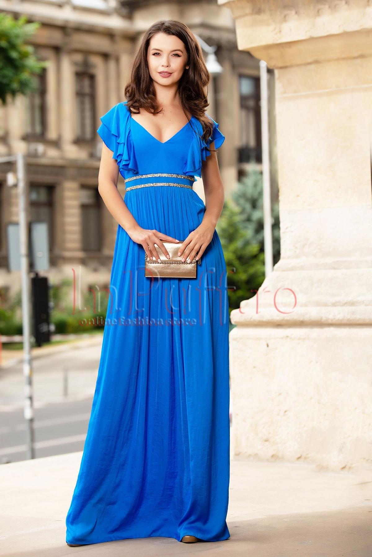 Rochie de ocazie lunga albastru electric din satin