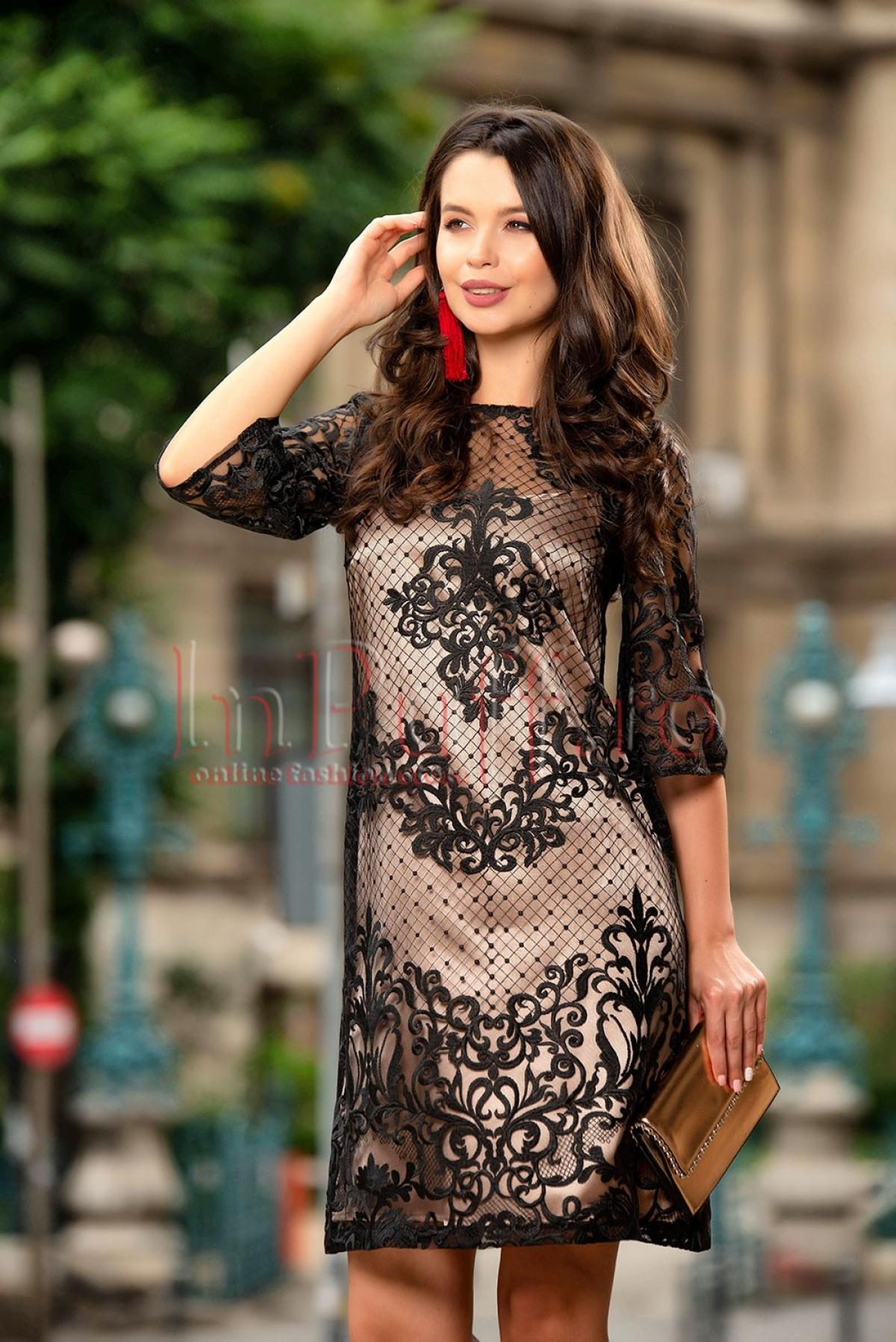 Rochie neagra eleganta din dantela