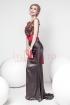 Rochie Pretty Girl lunga neagra din saten cu aplicatii 3D