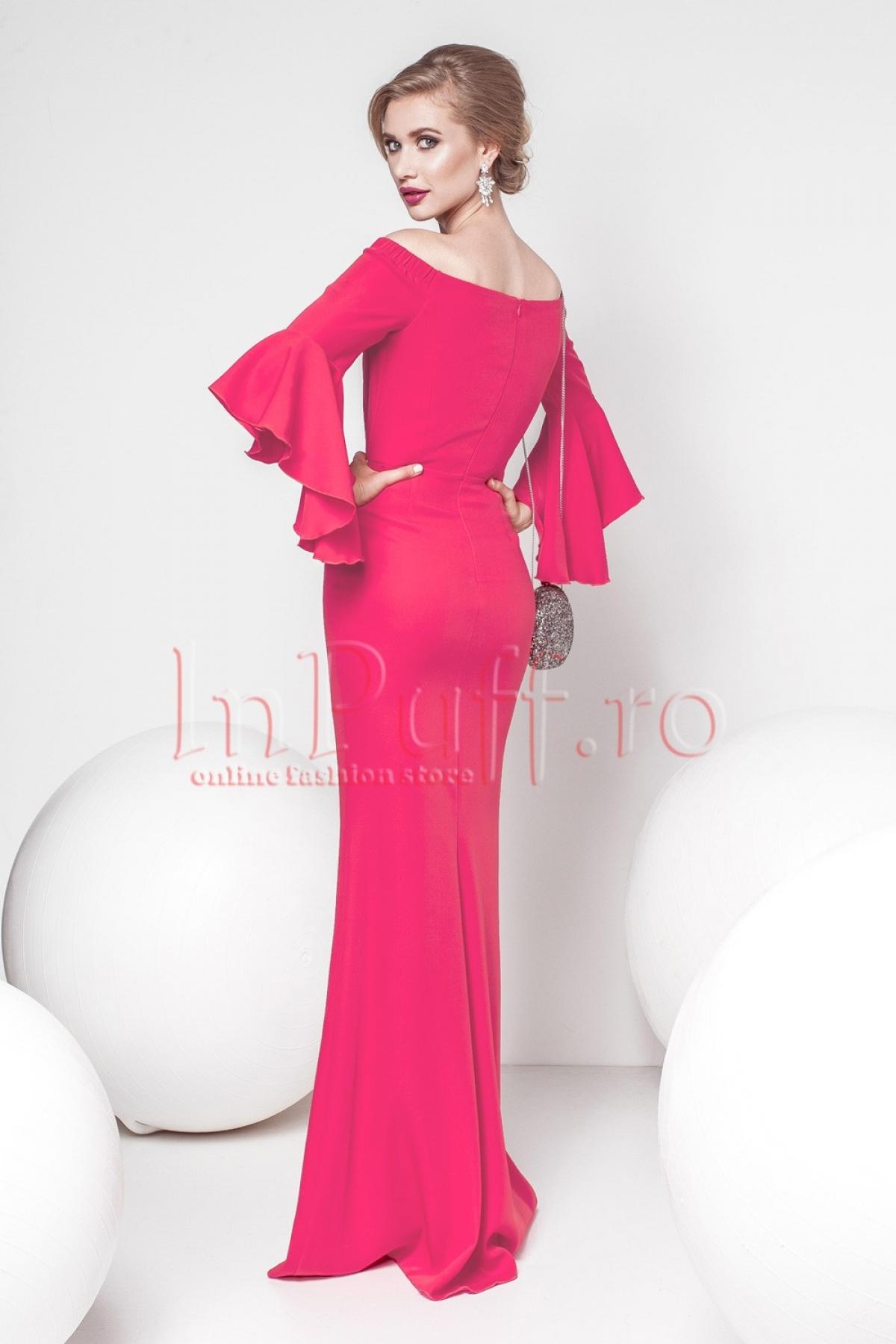 Rochie Pretty Girl eleganta de seara fucsia