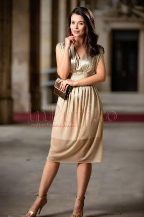 Rochie Pretty Girl de ocazie midi auriu din crepe