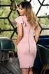 Rochie MBG de ocazie midi roz pudra cu volan pe un umar