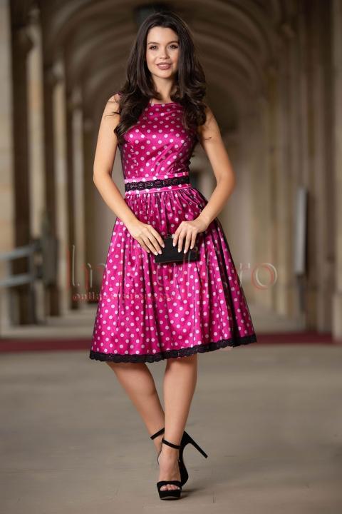 Rochie de ocazie roz cu buline albe si tul negru