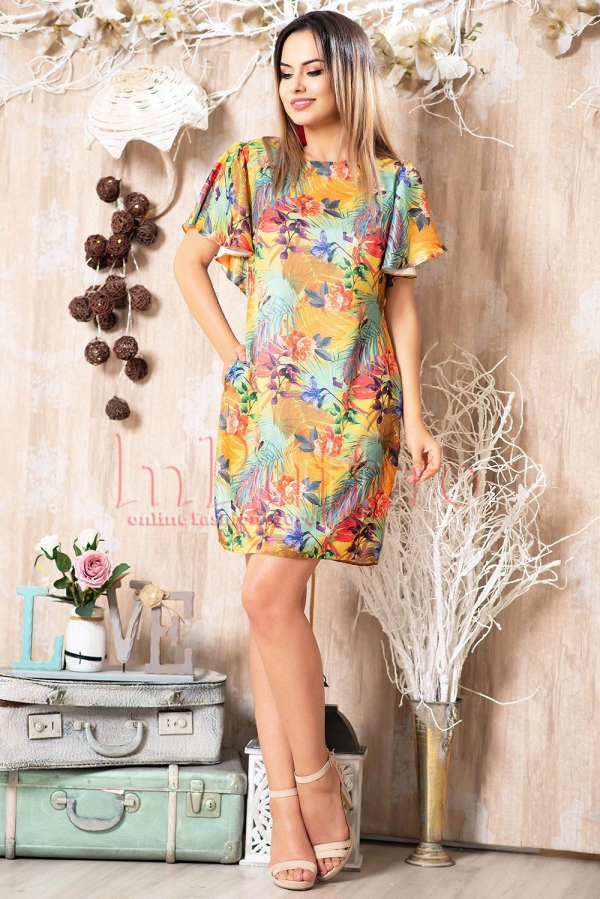Rochie eleganta cu imprimeu colorat si volane la maneci