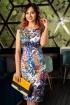 Rochie MBG midi satinata cu imprimeu colorat