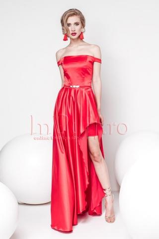 Rochie Pretty Girl eleganta rosie din tafta lasata pe umeri