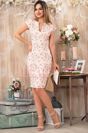 Rochie Pretty Girl eleganta roz pal cu flori 3D