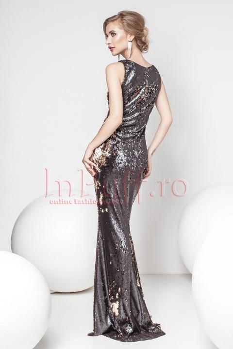 Rochie lunga de seara din paiete negre si aurii