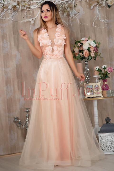 Rochie Pretty Girl lunga rose cu flori 3D si tul