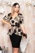 Rochie eleganta cu peplum si dantela cu flori 3D