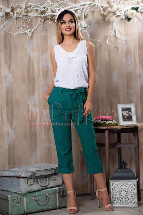 Pantaloni din in verzi trei sferturi