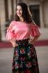 Bluza Effect roz piersica accesorizata cu perlute albe