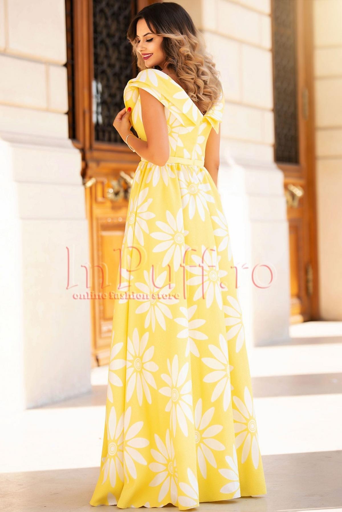 Rochie Atmosphere lunga de seara din brocard galben cu cu flori albe