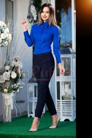 Pantaloni dama bleumarin din tercot