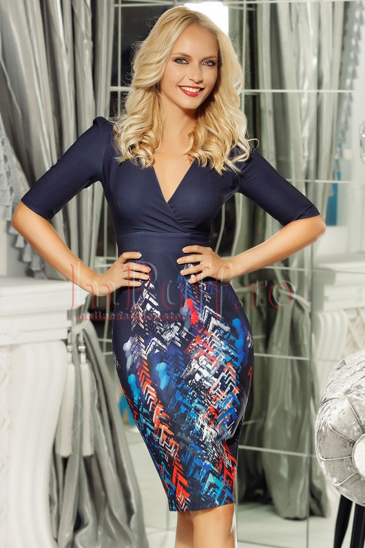 Rochie Fofy eleganta bleumarin cu imprimeu in partea de jos