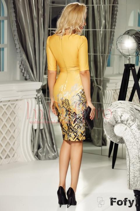 Rochie Fofy eleganta galbena cu imprimeu in partea de jos