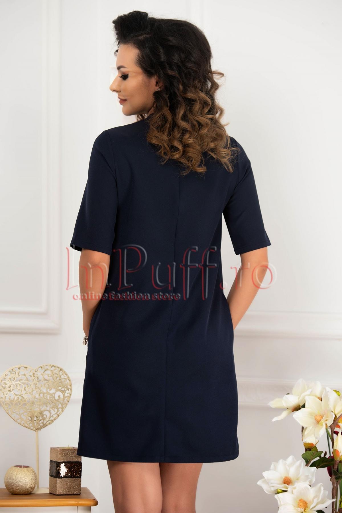 Rochie Fofy eleganta bleumarin cu funda la gat
