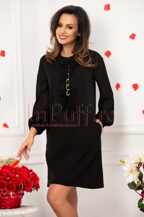Rochie Fofy neagra eleganta cu maneci din voal