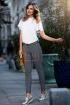 Pantaloni Pretty Girl negri cu imprimeu alb